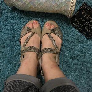 💟 BEAUTIFEEL 40 / 9 Tan Suede Snakeskin Sandals